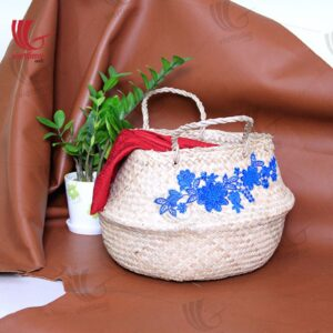 Flower Embroidery Belly Seagrass Basket