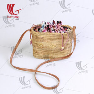 Vintage Rattan Draw String Bag