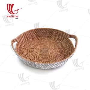 Pretty Medium Round Rattan Tray