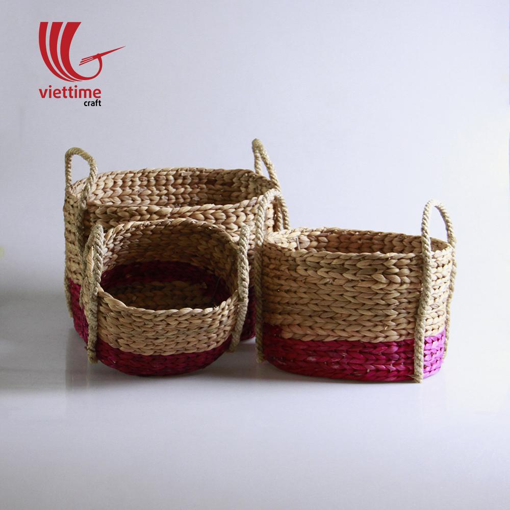 Water Hyacinth Storage Basket Set wholesale   Viettime Craft