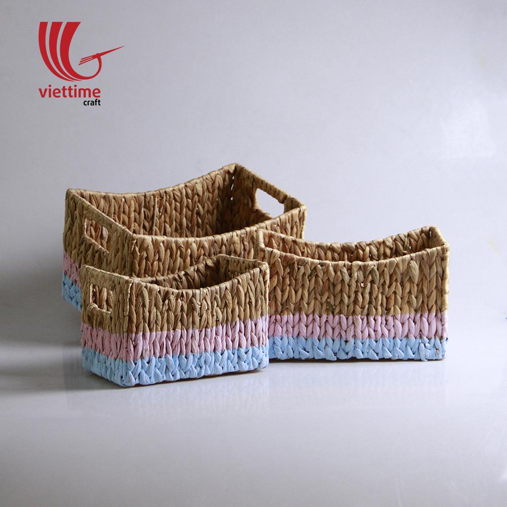 Colorful Water Hyacinth Basket Set