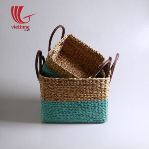 Water Hyacinth Basket With Leather Handle