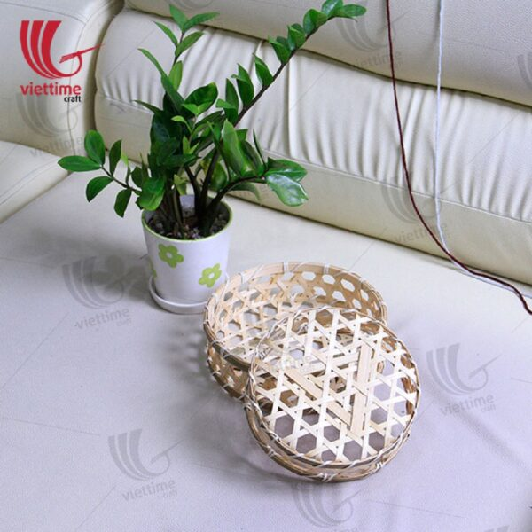 Vintage HandWoven Round Bamboo Basket Tray