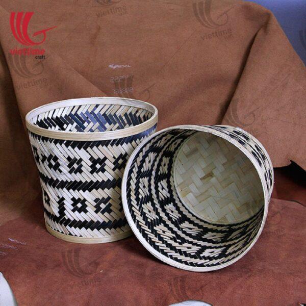 Black - White Weaving Bamboo Storage