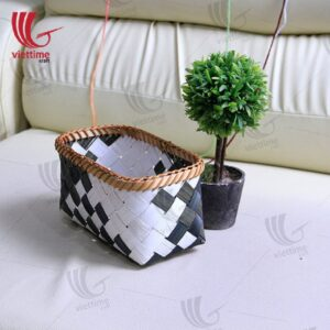 Black and White Weaving Bamboo Basket