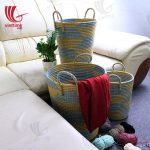 Colorful Seagrass Laundry Basket With Handle Set