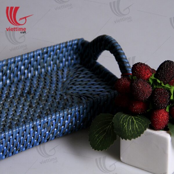 Blue Rattan Tray With Handle