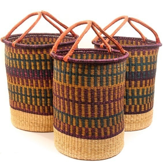 African Baskets: Colorful Seagrass Basket