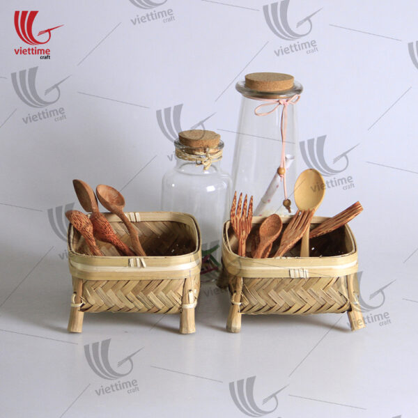 Stylish Pair Of Bamboo Basket With Legs