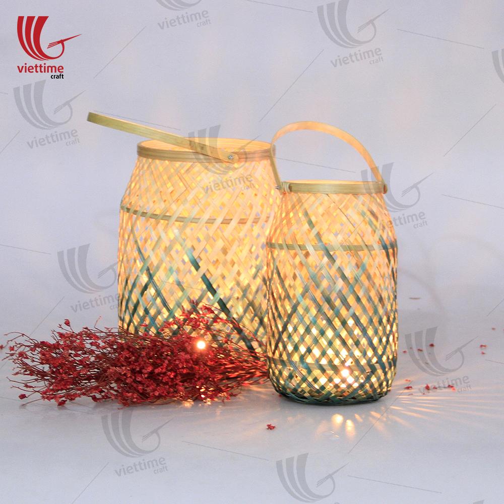 Bamboo candles lantern with glass/ViettimeCraft JSC