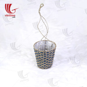 Seagrass Green Glass Hanging Planter