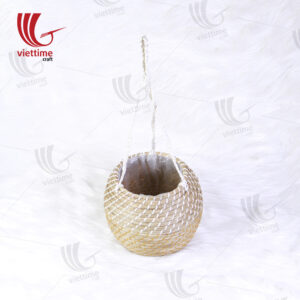 Round Seagrass Hanging Planters With Plastic String
