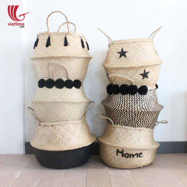 Set Of Star Seagrass Belly Basket