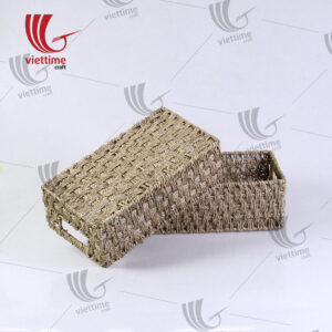 Rectangle Handwoven Seagrass Trays Set