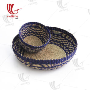 2 Piece Violet Round Seagrass Tray Set