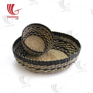2 Piece Woven Round Seagrass Tray Set