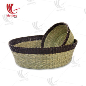 2 Piece Round Seagrass Tray Set