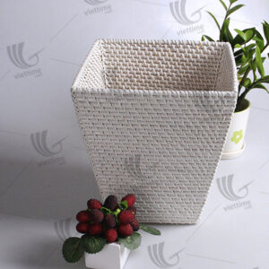 White Rattan Laundry Storage Basket