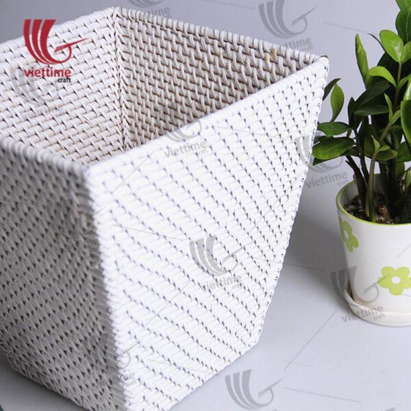 White Rattan Laundry Storage Basket