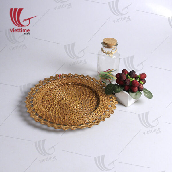 Round Brown Beautiful Round Rattan Charger PlateRattan Charger Plate