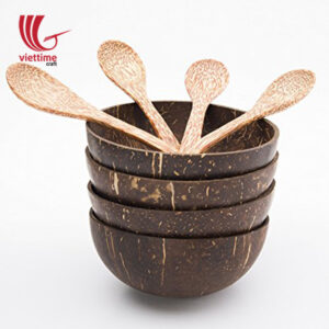 Coconut Shell Bowls & Spoons Set Of 4