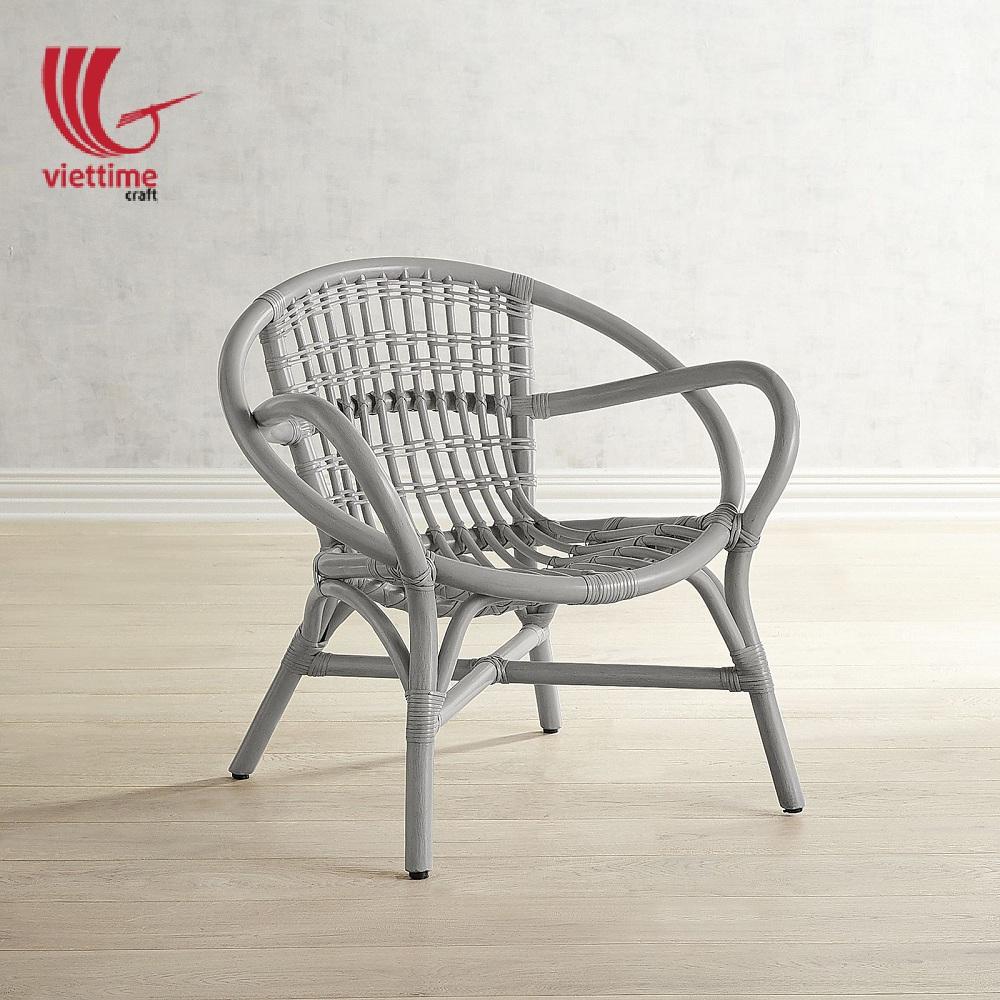 White Wicker Round Rattan Armchair