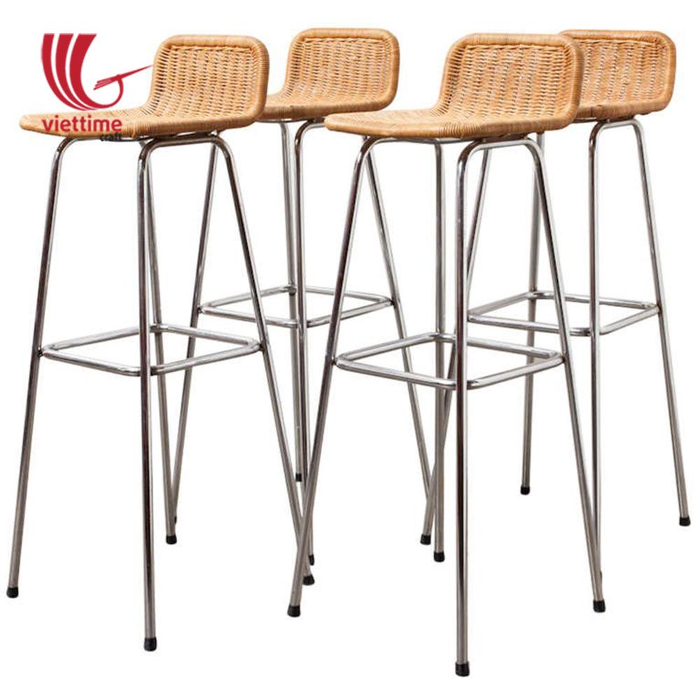 Woven wicker bar stool rattan chair