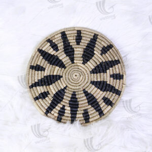 Black And Natural Seagrass Plate Wall Decor