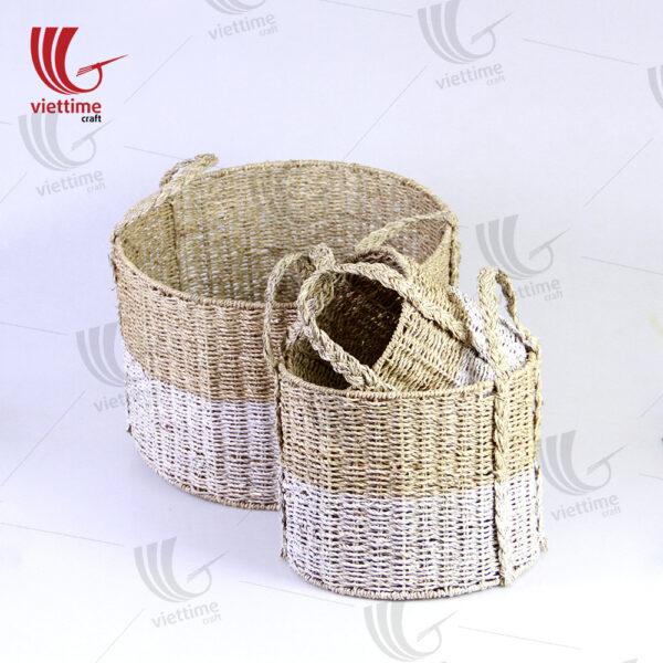 Dipped White Seagrass Storage Basket