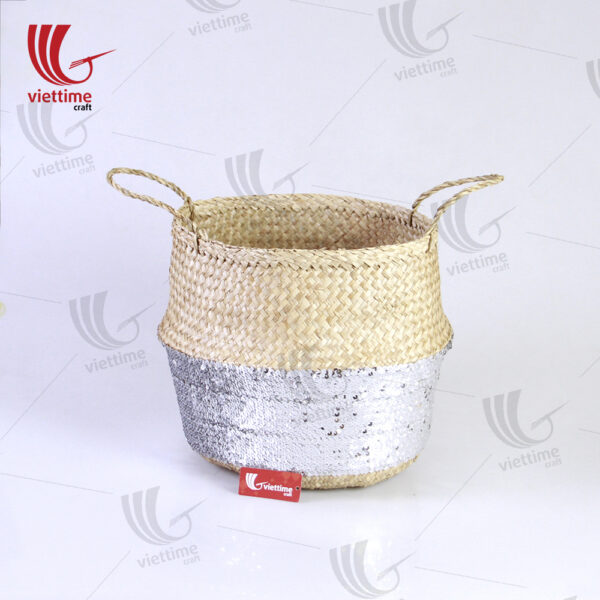 White Sequin Dipped Seagrass Basket