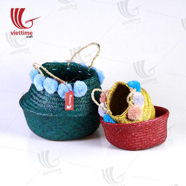 Set Of 3 Full Color Seagrass Belly Basket