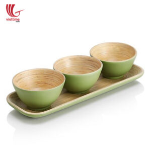 Set Of 3 Small Bamboo Bowl With Tray