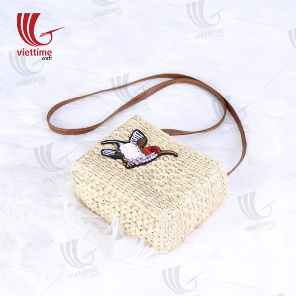 Bird Embroidered Small Water Hyacinth Bag