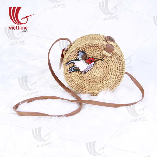 Bird Embroidered Round Rattan Bag