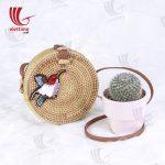Bird Embroidered Round Rattan Bag