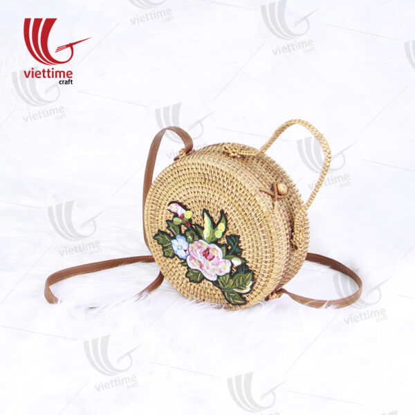 Flower Embroidered Round Rattan Bag