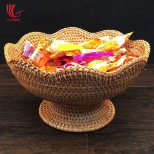 Flower Rattan Candy Tray With Leg