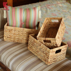 Water Hyacinth Basket With Handle Set Of 3