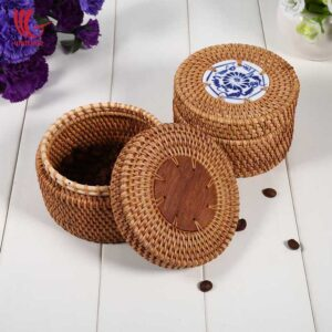 Mid Decorative Small Round Rattan Box Set Of 2