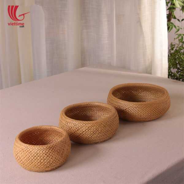 Small Round Weaving Bamboo Basket Set Of 3