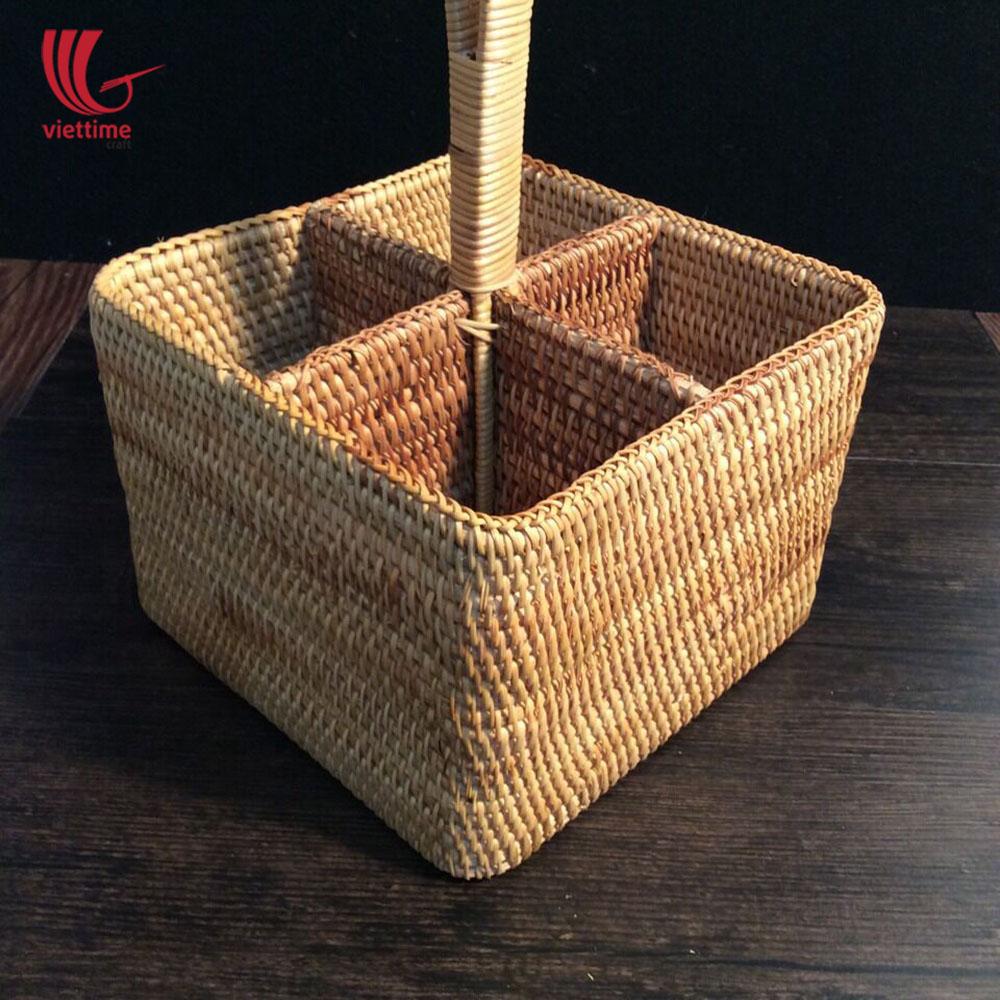 Rattan Square Utensil Condiment Caddy Basket | Viettime Craft