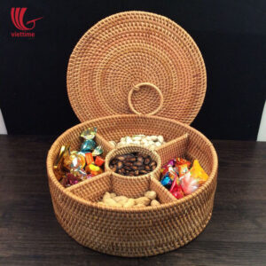 Round Rattan Candy Box With 5 Compartments