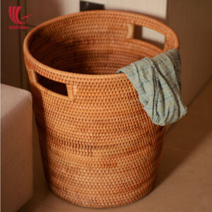 Brown Round Rattan Laundry Storage Basket