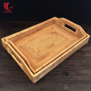 Rectangle Rattan Tray With Handle Set Of 2