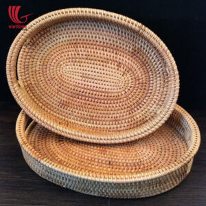 Brown Oval Rattan Tray Set Of 2 Wholesale