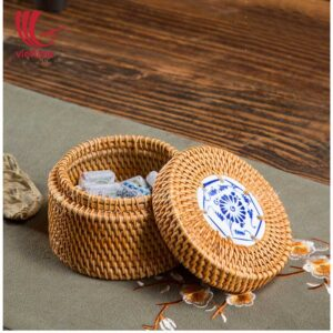 Decorative Small Round Rattan Candy Box