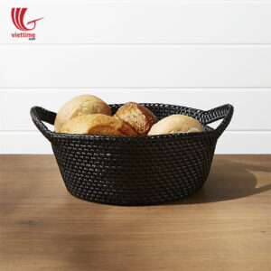 Rattan Black Cake And Bread Basket For Meal