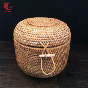 Medium Round Rattan Box For Storage