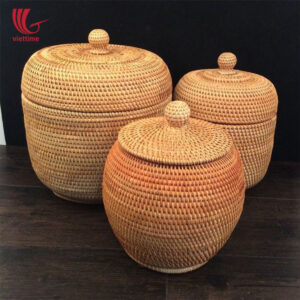Rattan Storage Box With Lid Set Of 3