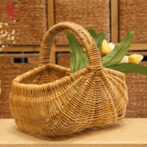 Natural Rattan Flower Fruit Basket With Handle
